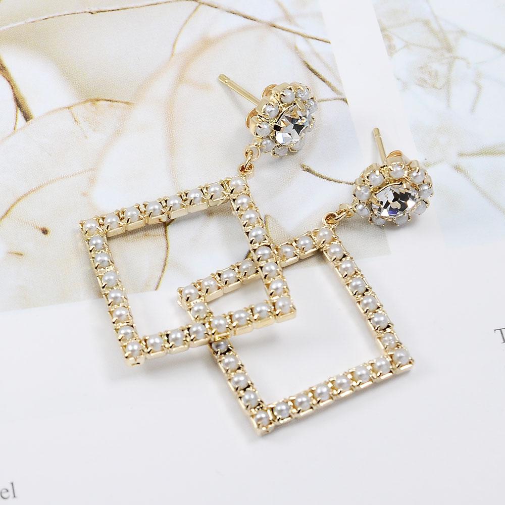 Prisme美國時尚飾品 菱型珍珠水鑽 金色耳環 耳針式