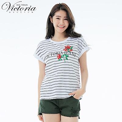 Victoria 玫瑰繡花落肩短袖T-女-白色
