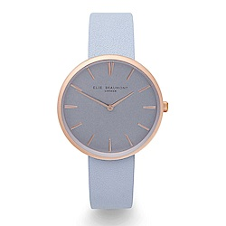 Elie Beaumont 英國時尚手錶HAMPSTEAD系列 淺藍x磨砂玫瑰金框38mm