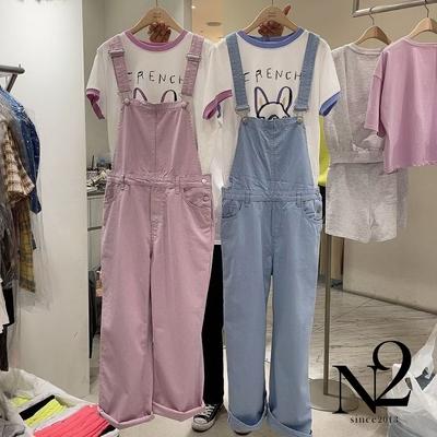 下著 正韓粉嫩色系棉質薄款造型長褲吊帶褲(共三色)N2