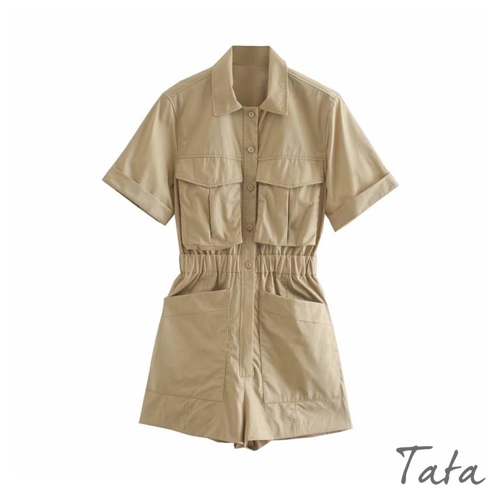 工裝風排扣連身褲 TATA-(S/M)
