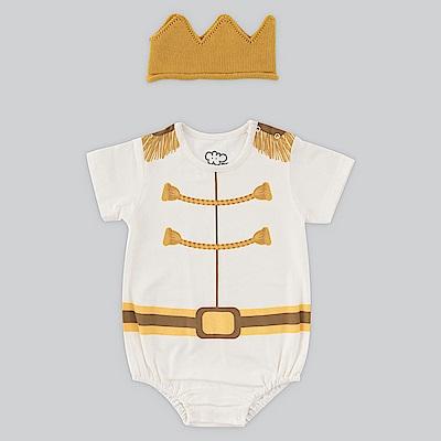 日安朵朵 男嬰連身衣禮盒-白馬王子(MIT台灣製衣+皇冠帽)