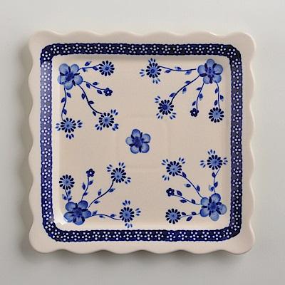 波蘭陶手工製 歐式青花 方形餐盤24cm