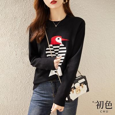 初色  韓版寬鬆慵懶風針織衫-黑色-(F可選)