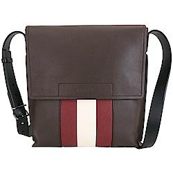 BALLY BOIVIN 紅白條紋小牛皮掀蓋郵差包(咖啡色)