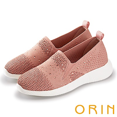 ORIN 休閒時尚風 閃閃魅力燙鑽平底便鞋-粉紅
