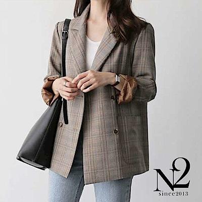 外套 正韓復古經典格修身設計雙排釦西裝外套(咖啡) N 2