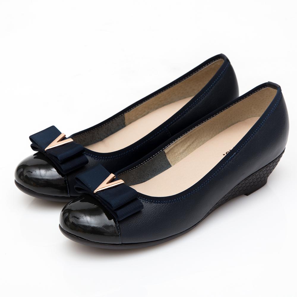 G.Ms. MIT系列-V字金屬雙層蝴蝶結牛皮楔型跟鞋-藍色