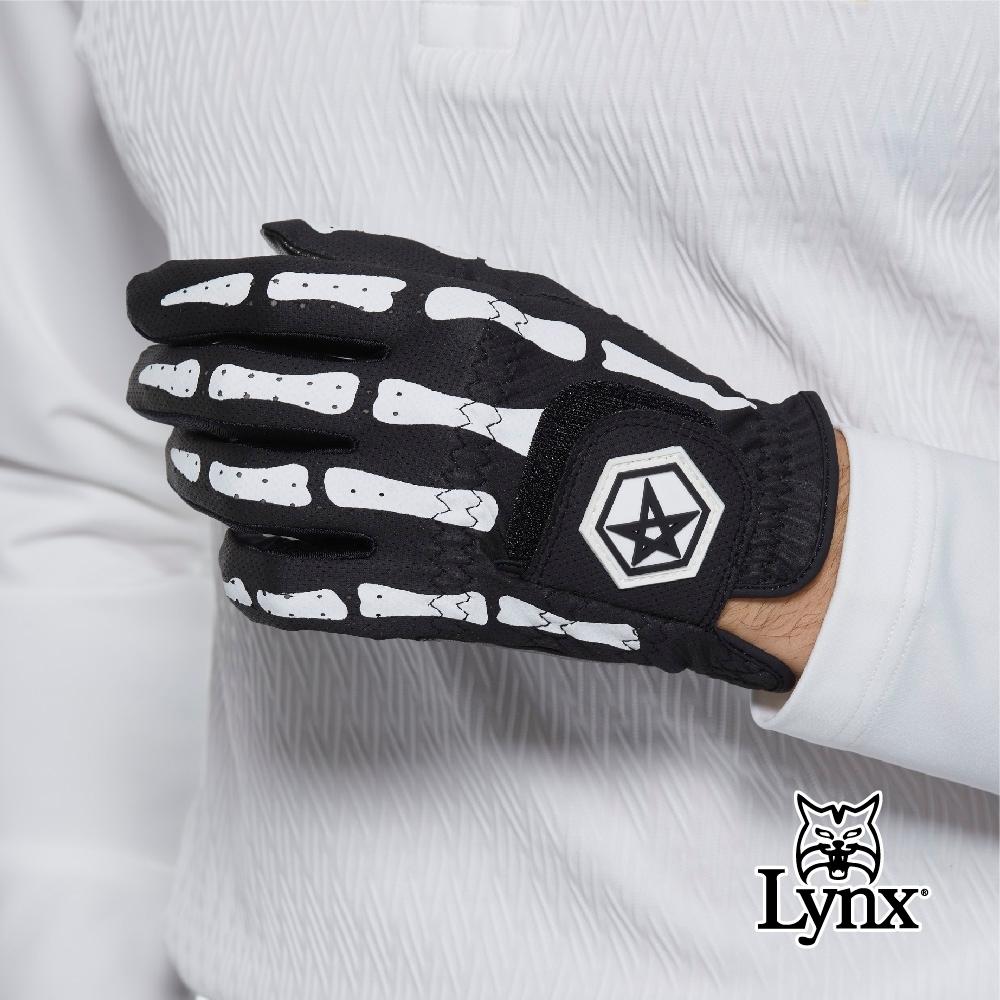 【Lynx Golf】Asher Death Grip系列男款防滑彈性骨紋花樣高爾夫左手手套-黑色
