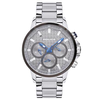 POLICE 王者風範三眼時尚手錶-灰X銀/47mm
