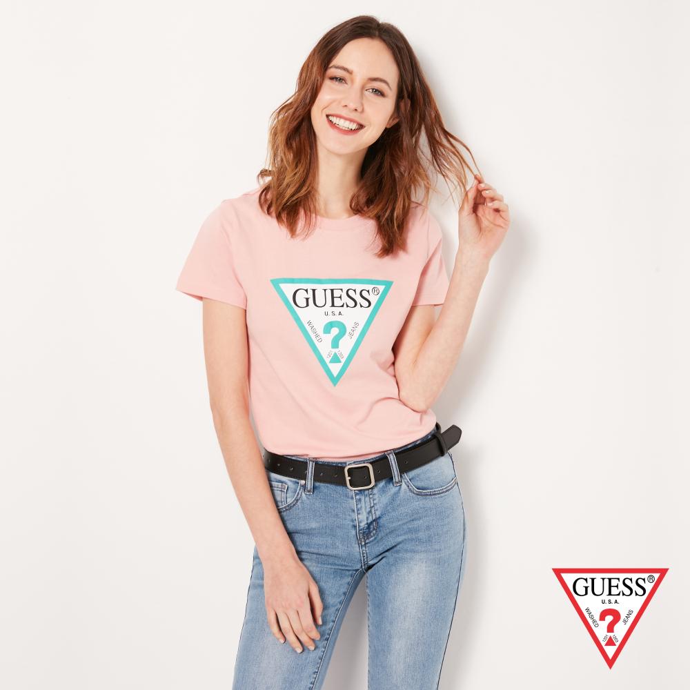 GUESS-女裝-撞色經典倒三角logo短T,T恤-粉紅 原價1290