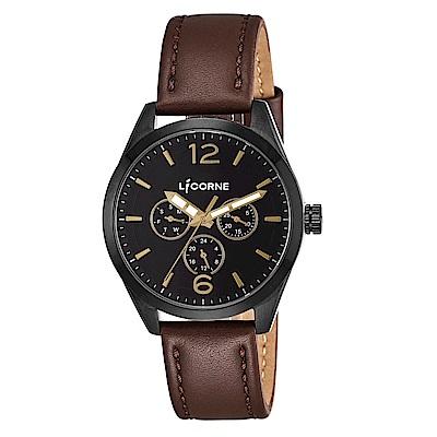 LICORNE 力抗錶 經典工藝三眼手錶 藍×深棕色/42mm
