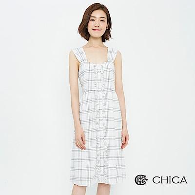 CHICA 復古韻味荷葉拼接寬帶格紋洋裝(1色)