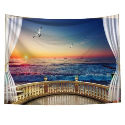 半島良品 北歐風裝飾掛布-窗景系列/窗景-海景 150x130cm