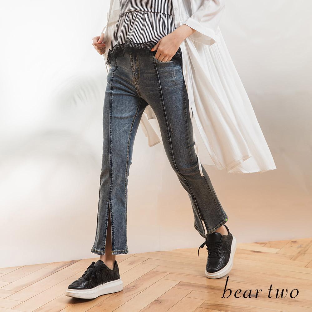 beartwo 復古修飾開衩造型九分丹寧褲(藍色)