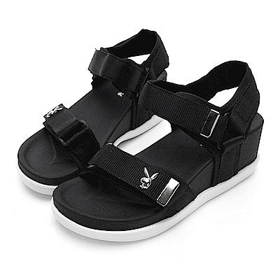 PLAYBOY 魔鬼氈織帶厚底涼鞋-黑-Y5286CC