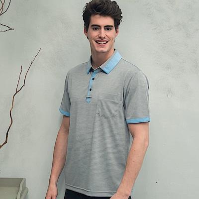 Valentino Rudy范倫鐵諾.路迪-吸濕透氣涼爽機能Polo衫-鴿子灰淺藍領