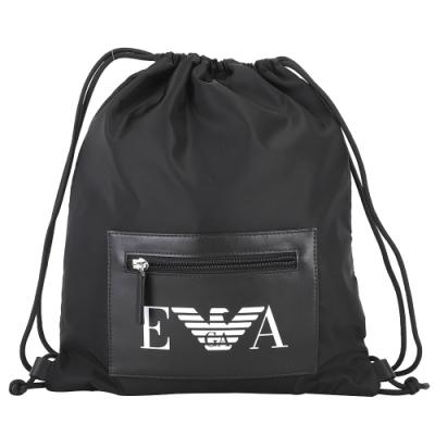 Emporio Armani EA 品牌皮革拉鍊袋尼龍束口後背包(黑色)