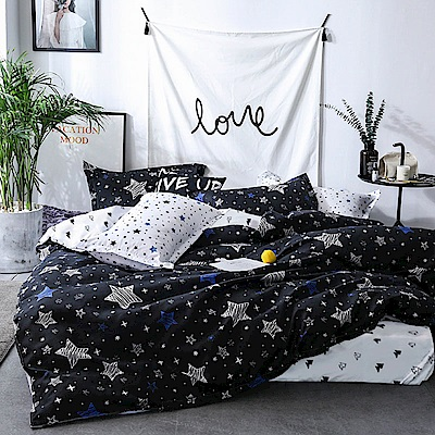 A-one-單人床包-雙人薄被套三件組-滿天星-美