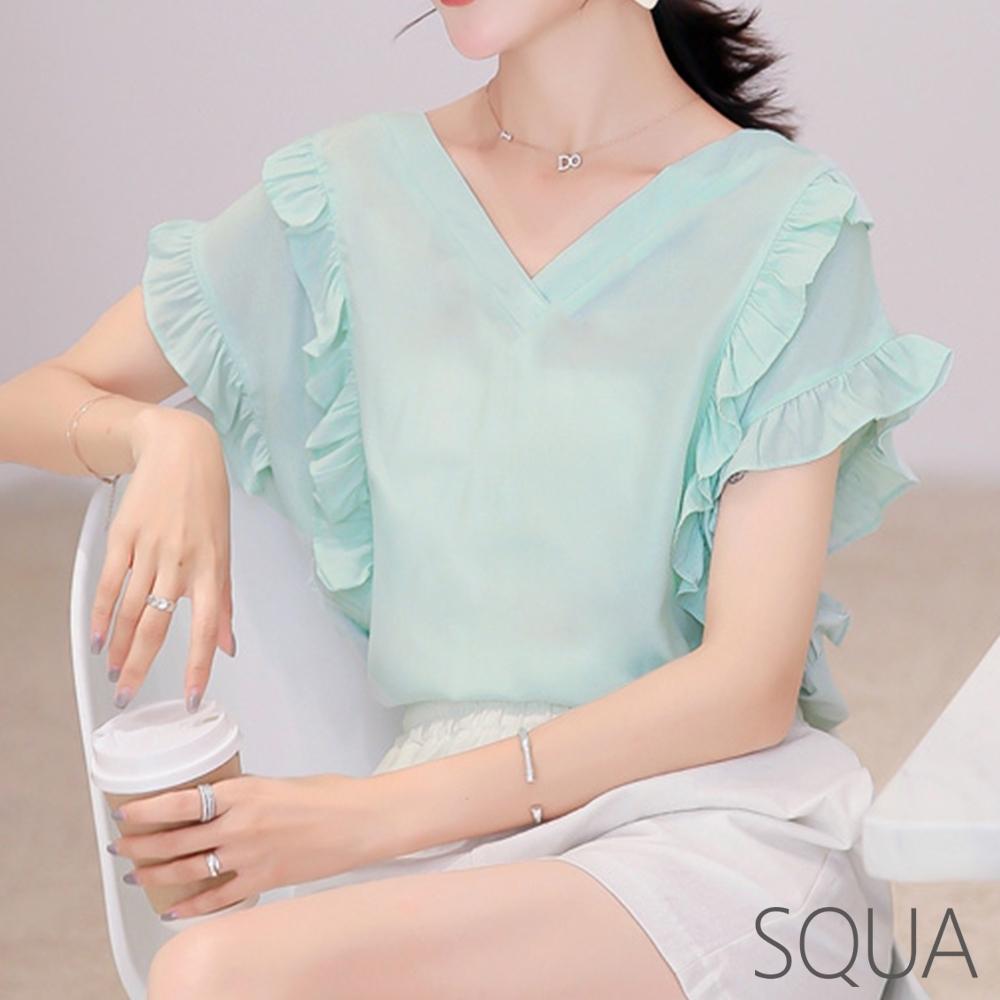 SQUA 雙層荷葉袖雪紡上衣-二色-(S~L)