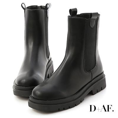 D+AF 焦點時尚.加厚鞋底切爾西短靴*黑