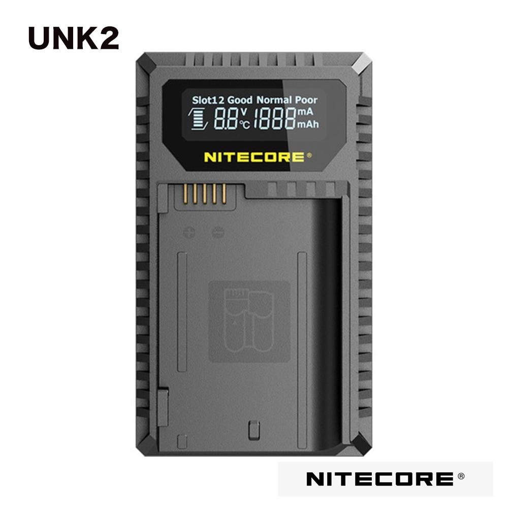 Nitecore UNK2 液晶顯示充電器 NIKON EN-EL15 EN-EL15a EN-EL15b LCD電池狀況顯示 防反接/短路功能 電池激活功能 散熱系統 隱藏電線收納