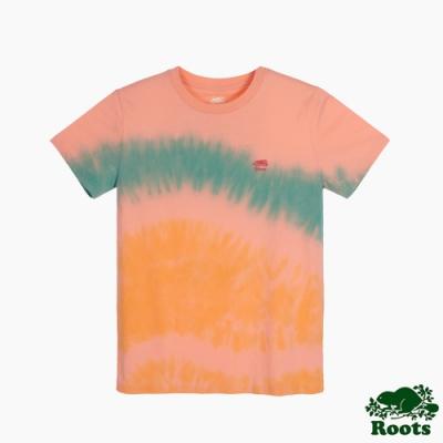 Roots 女裝- 戶外野營系列 海狸LOGO紮染短袖T恤-桃色