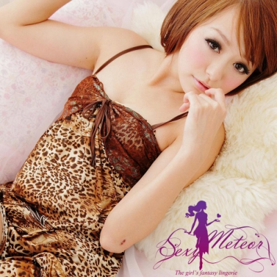 睡衣 全尺碼 蕾絲豹紋細肩帶二件式睡衣組(咖啡豹紋) Sexy Meteor