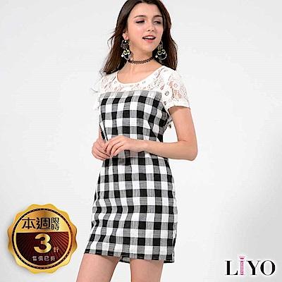 LIYO理優歐風洋裝格紋蕾絲拼接洋裝(黑)