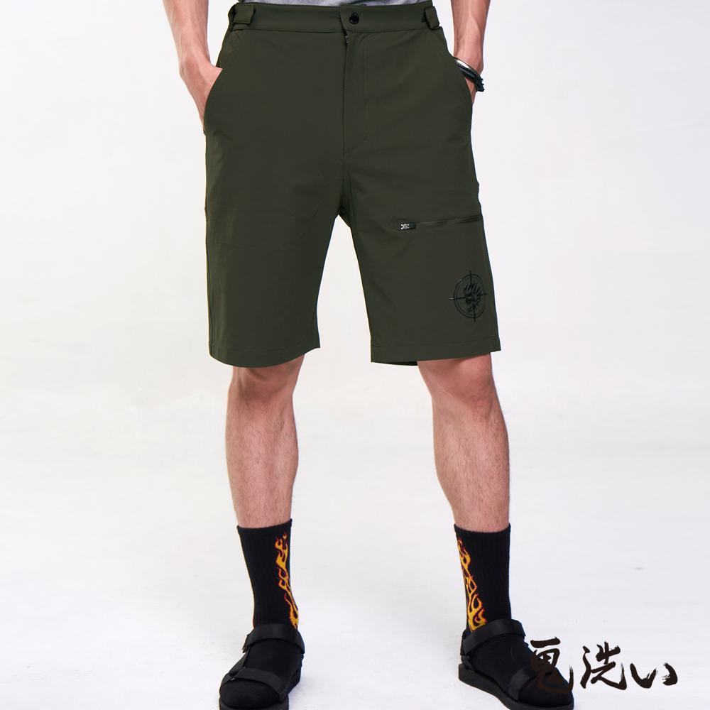 鬼洗 BLUE WAY 潮流鬼洗-鬼著神風輕量機能短褲(軍綠)