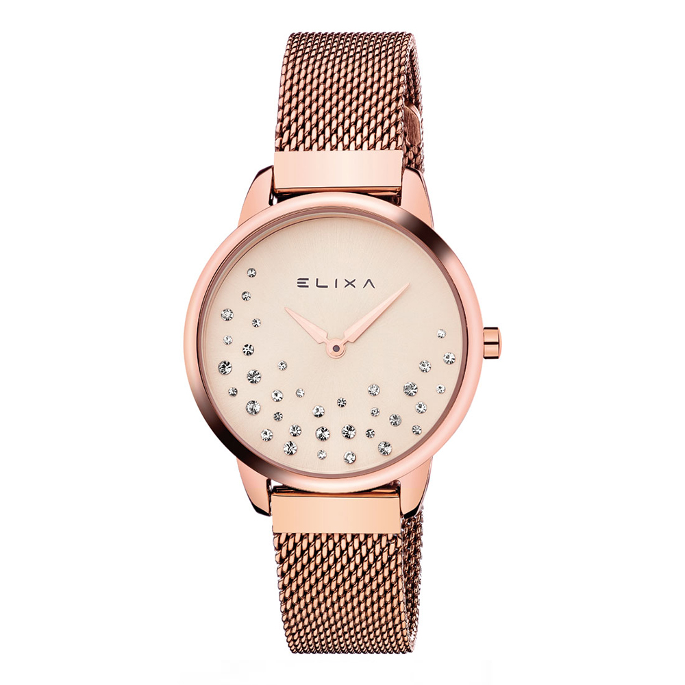 ELIXA BEAUTY晶鑽錶面無刻度米蘭帶系列 玫瑰金32mm