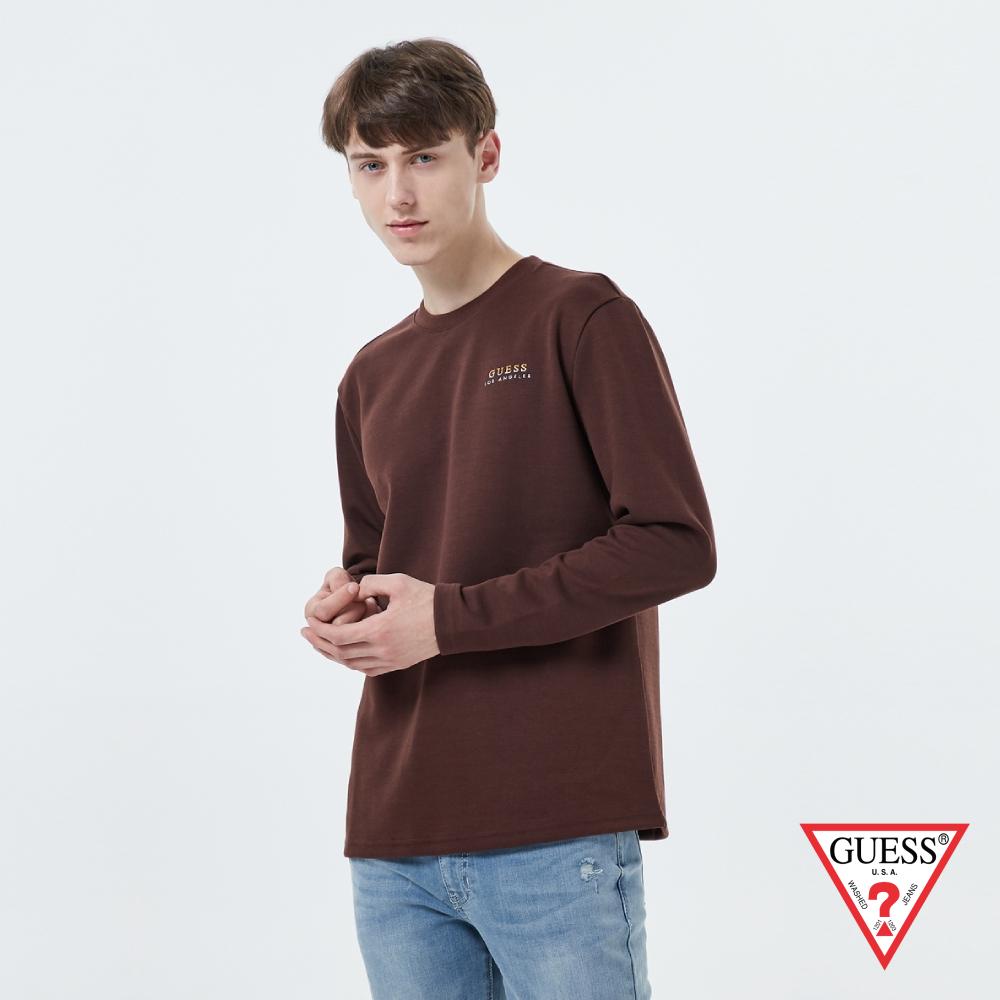 GUESS-男裝-雙色刺繡LOGO長袖上衣-棕 原價2990