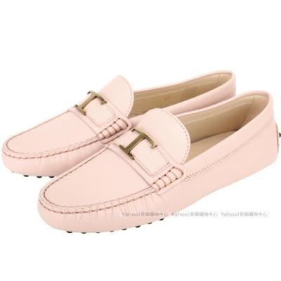 TOD'S Timeless 金屬T字牛皮休閒豆豆鞋(粉色)