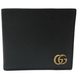 GUCCI   經典GG Marmont系列金屬GG LOGO牛皮折疊短夾(黑色-8卡)