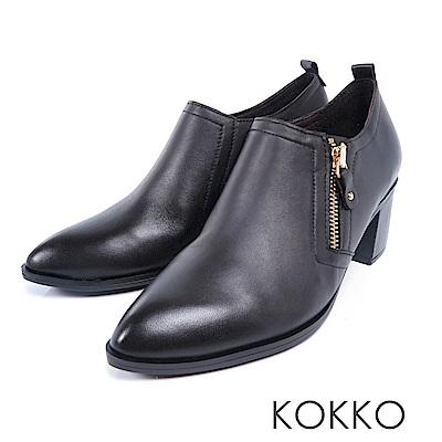 KOKKO - 窗邊閱讀尖頭拉鍊真皮粗跟踝靴-不敗黑