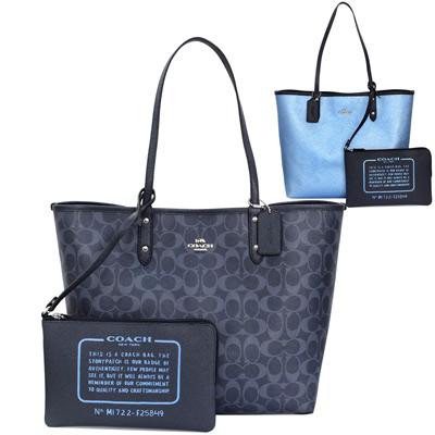COACH深單寧C Logo螢光藍雙面使用肩背購物托特包(大)
