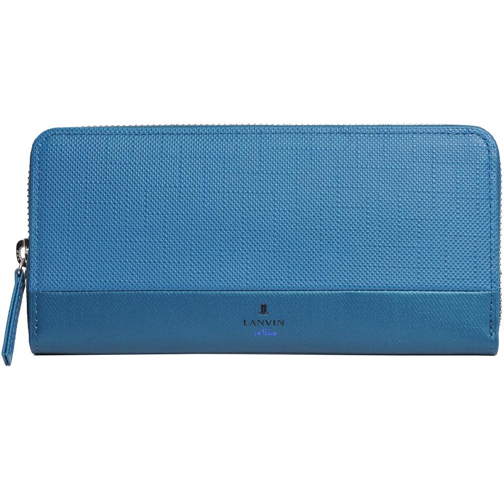 LANVIN en Bleu 品牌經典LOGO圖騰防刮牛皮拉鍊機能長夾(藍色系)