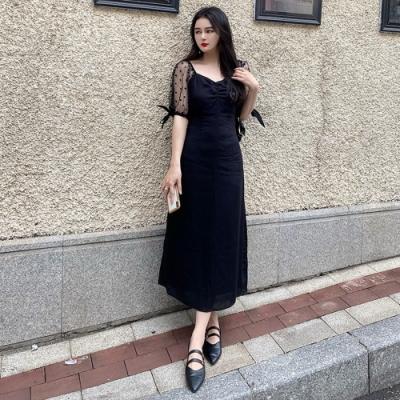 優雅透膚網紗拼接衣袖純色顯瘦洋裝XL-5XL-KVOLL