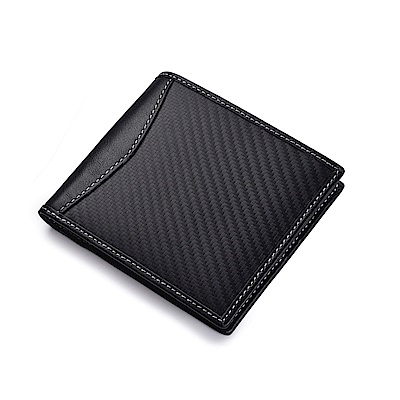 JINBAOLAI  GT1200BK碳纖維真皮錢包皮夾黑色