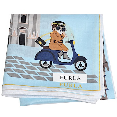 FURLA 可愛貴婦教堂兜風圖騰字母LOGO帕領巾(水藍)