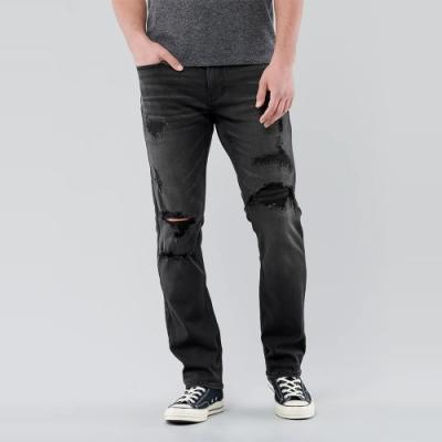 Hollister 海鷗  經典破壞設計直筒合身牛仔長褲slim straight(男)-深灰色