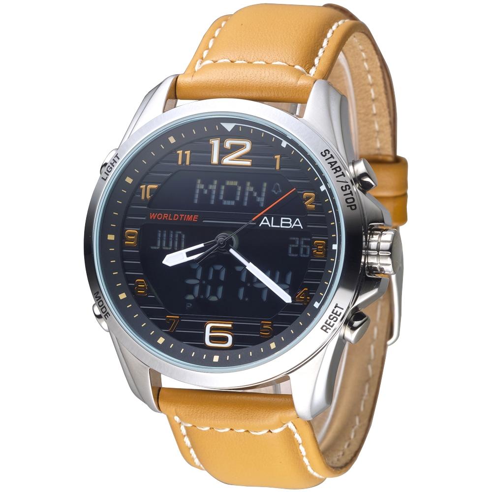 ALBA 飛鷹戰士多功能數位雙顯男錶-卡其色錶帶/黑(AZ4013X1)/40mm @ Y!購物