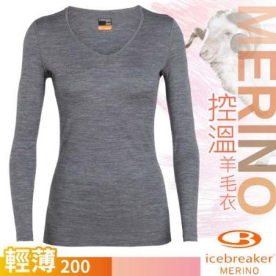 Icebreaker 女 200 Oasis 美麗諾羊毛輕薄款長袖V領上衣_季風灰