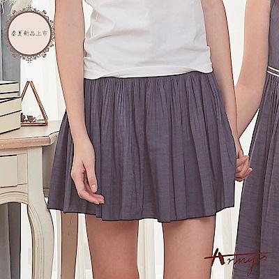 Annys安妮公主-超親膚舒適透氣天絲棉雙排扣風琴褶短裙*8318藍
