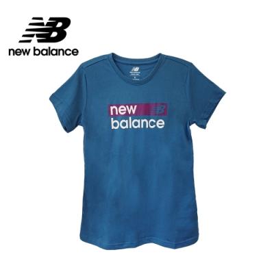 【New Balance】SPORT系列 品牌字樣短袖Tee_女性_灰藍_WT03806NLB