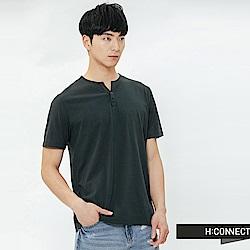 H:CONNECT 韓國品牌 男裝-鈕扣造型素面T-shirt-藍