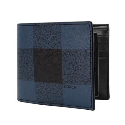 COACH單寧藍黑大格紋雙摺對開二合一男夾/短夾