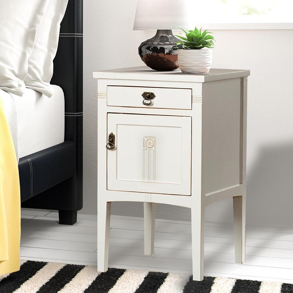 E-home Diem迪姆實木單抽單門床頭櫃 白色