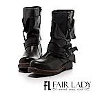 Fair Lady 多層次扣飾拉鍊中筒靴 黑