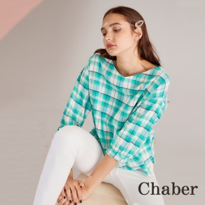 Chaber巧帛 清新無印風格紋七分袖造型上衣-薄荷綠